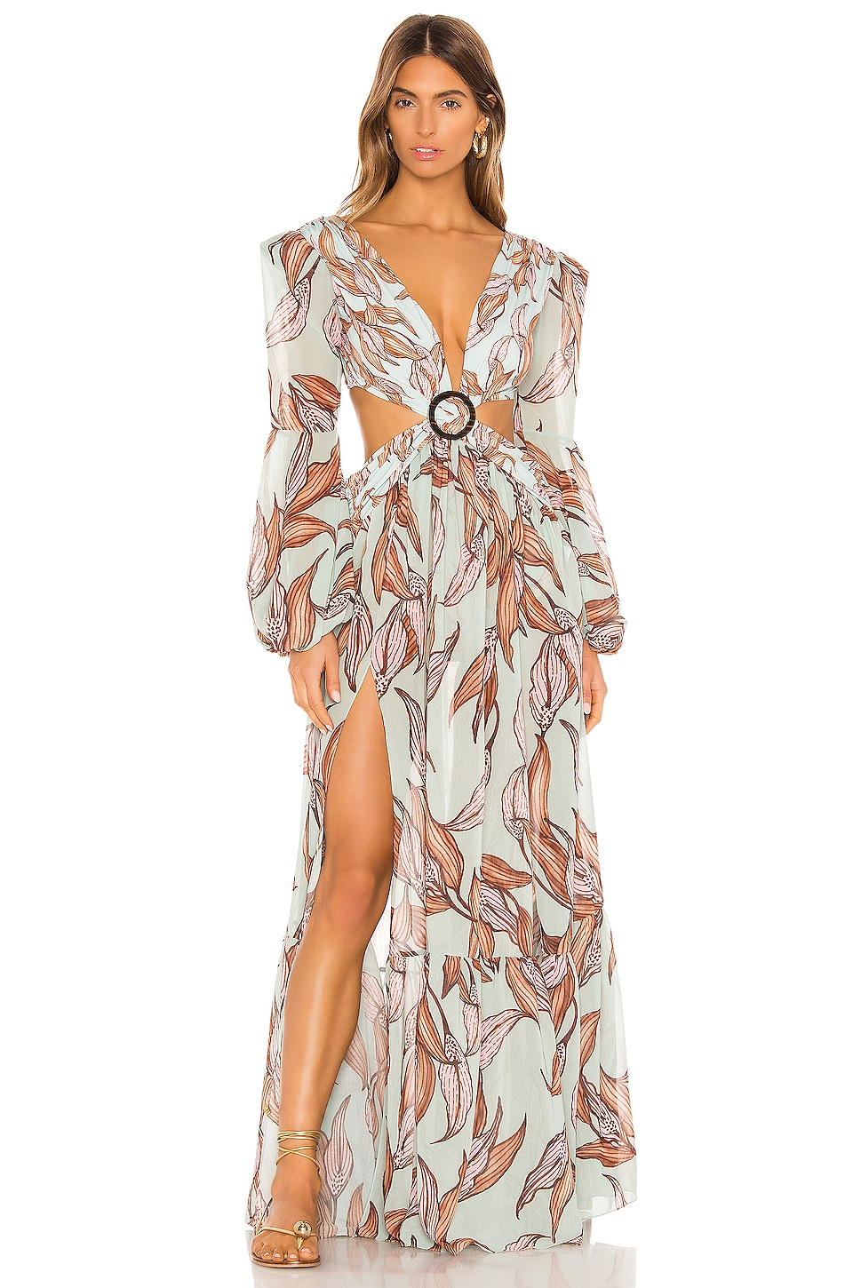 PatBO Printed Cutout Dress in Peace Lily