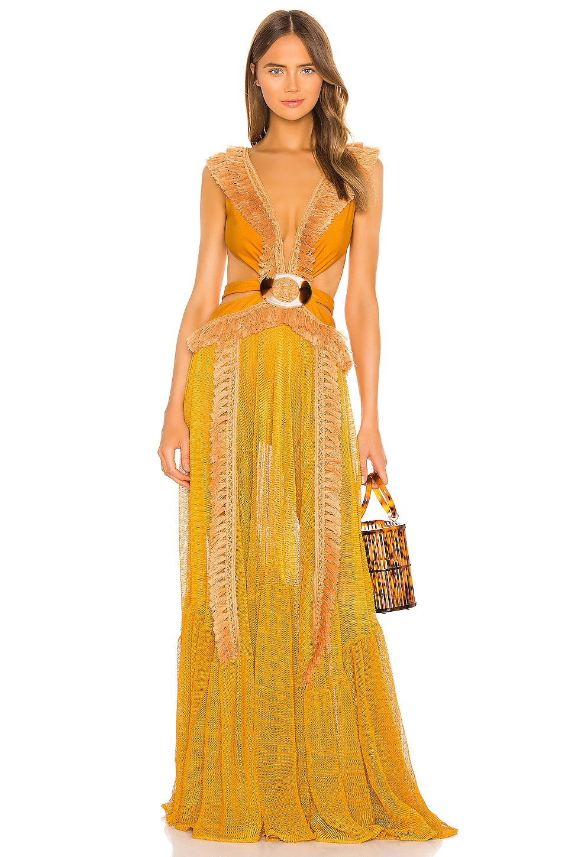 PatBO Netted Fringe Beach Dress in Sunflower