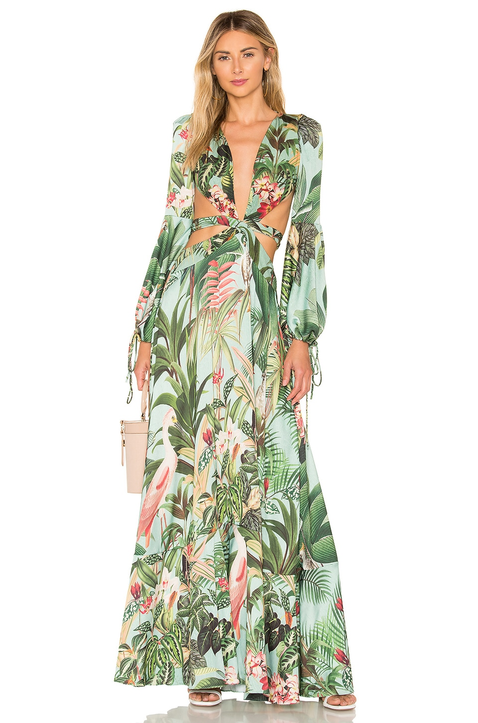 PatBo Paradise Print Cutout Gown in Blue