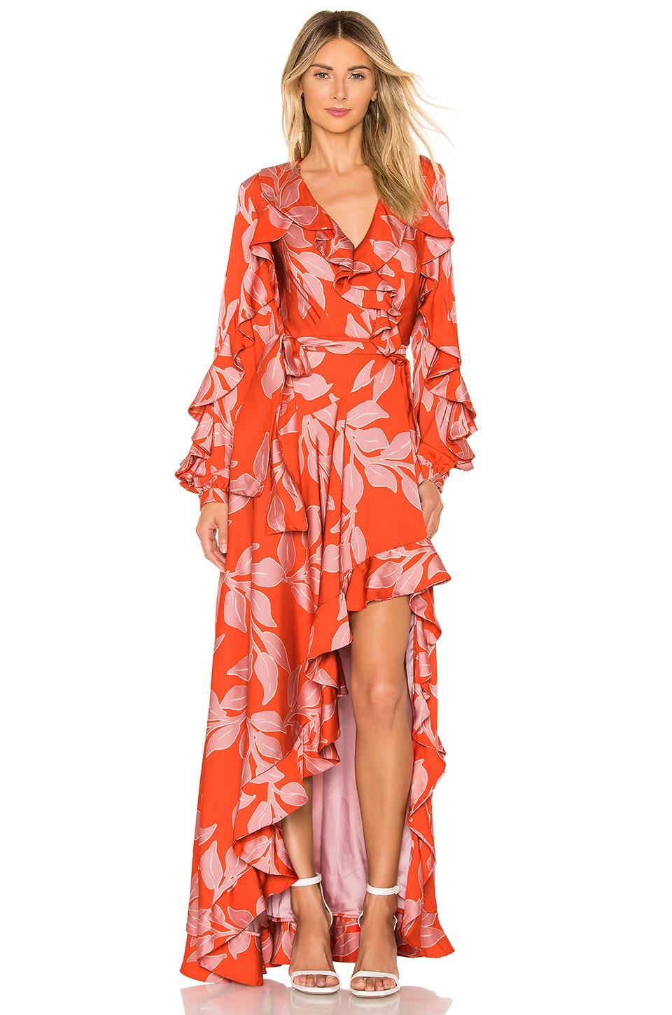 PatBo Leaf Print Ruffle Sleeve Maxi Dress in Hot Pink Floral