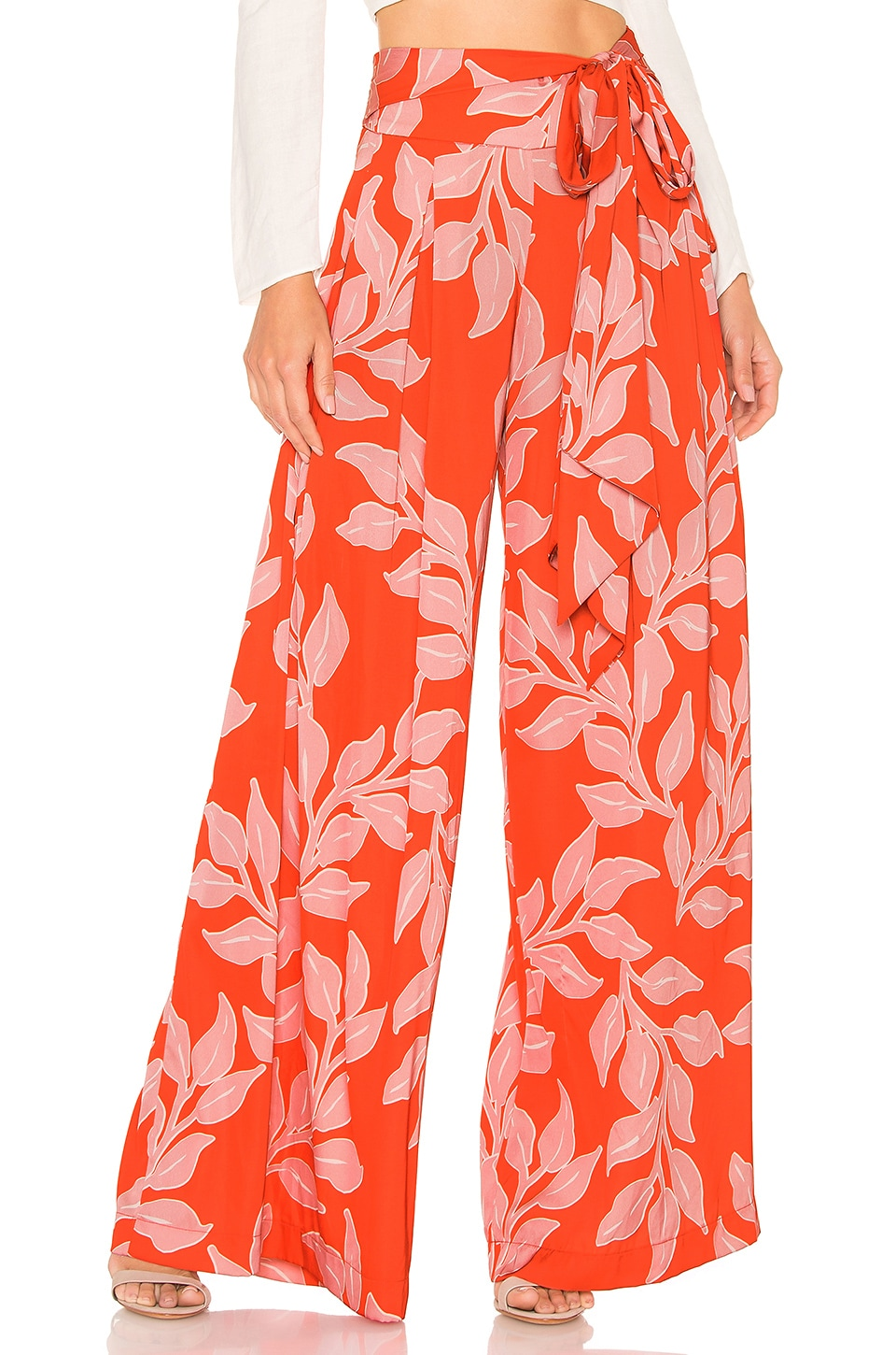 PatBO Leaf Print Wide Leg Pant in Hot Pink
