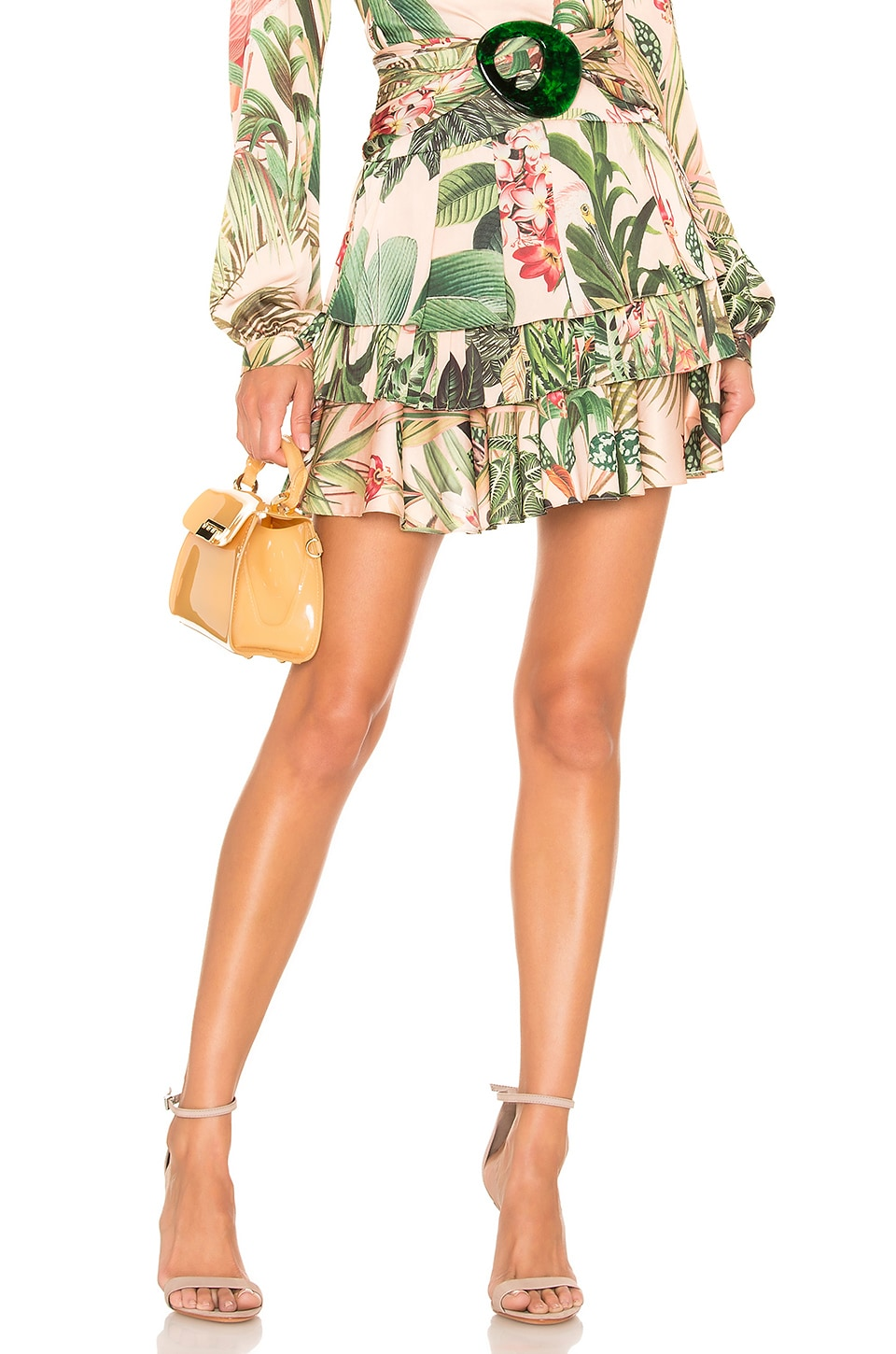 PatBO Paradise Print Ruffle Mini Skirt in Pink