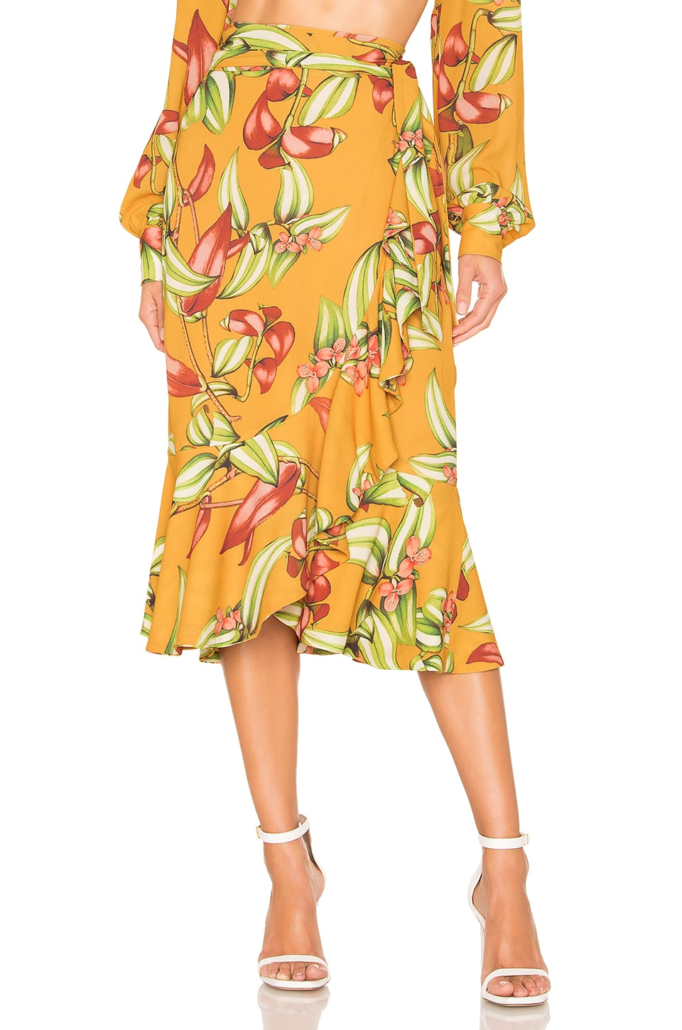 PatBo Zebrina Print Wrap Skirt in Yellow