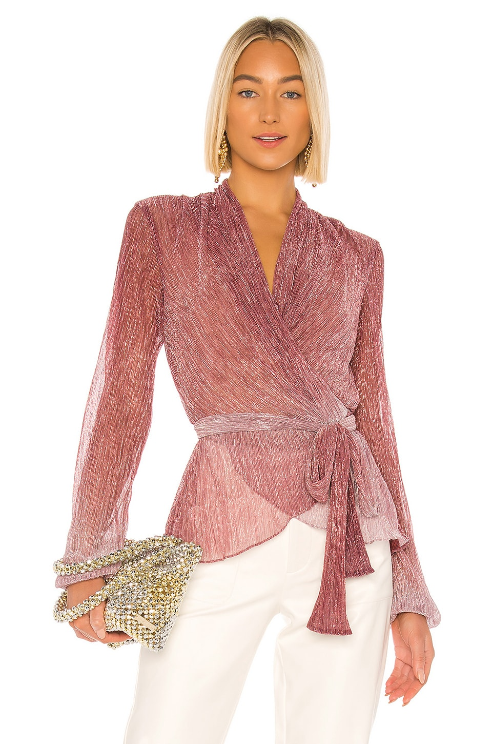 PatBO Ombre Lurex Tie Top in Light Orchid