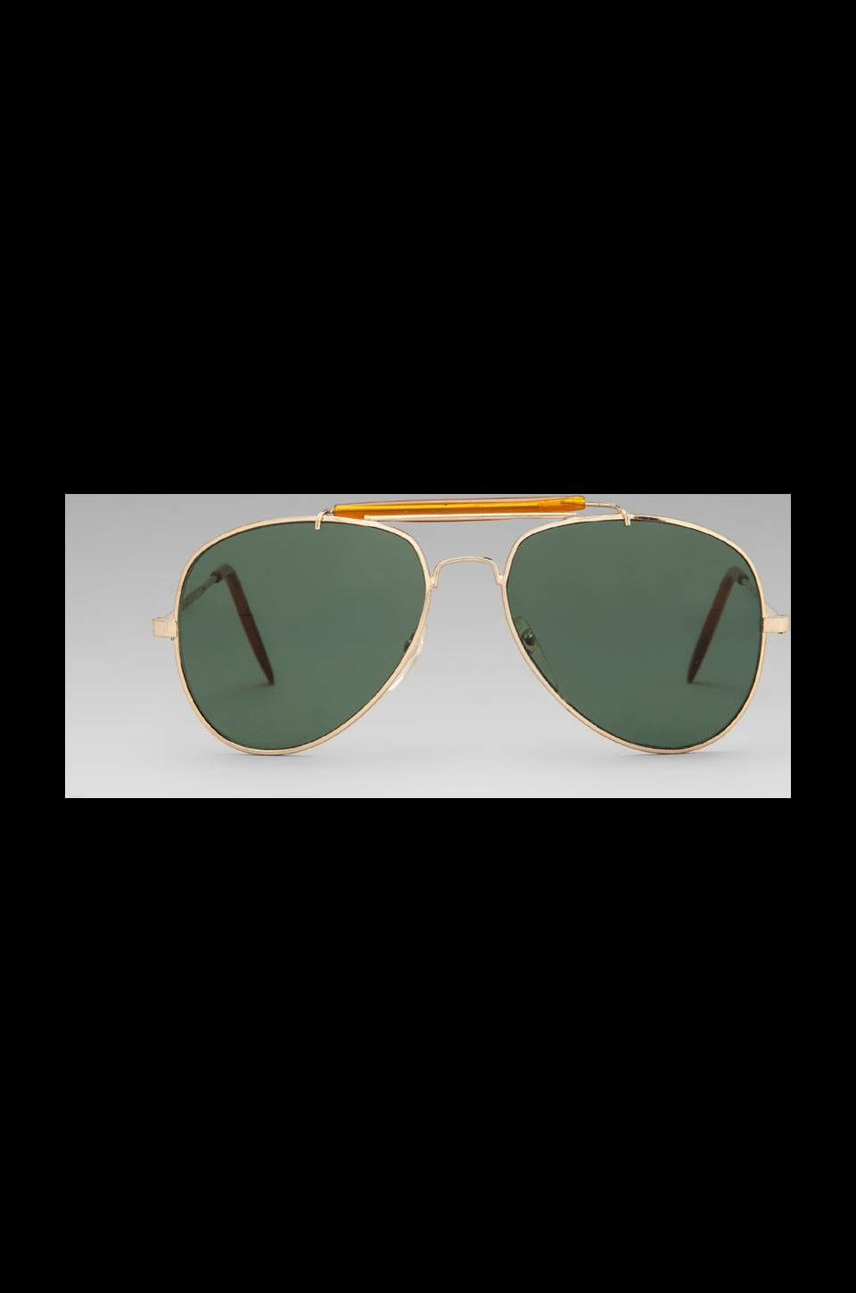 Peekabooda Easy Rider Aviators with Green Lens in Gold