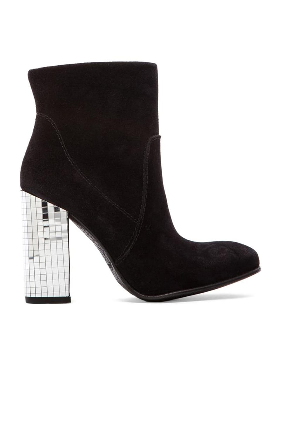 Pedro Garcia Bruna Disco Block Heel Bootie in Black & Silver