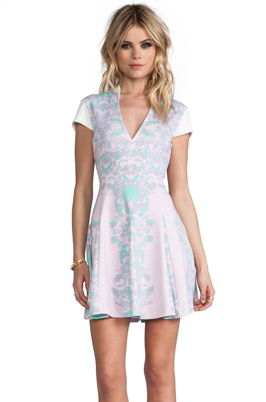 Pencey Deep V Mini Dress in Pink