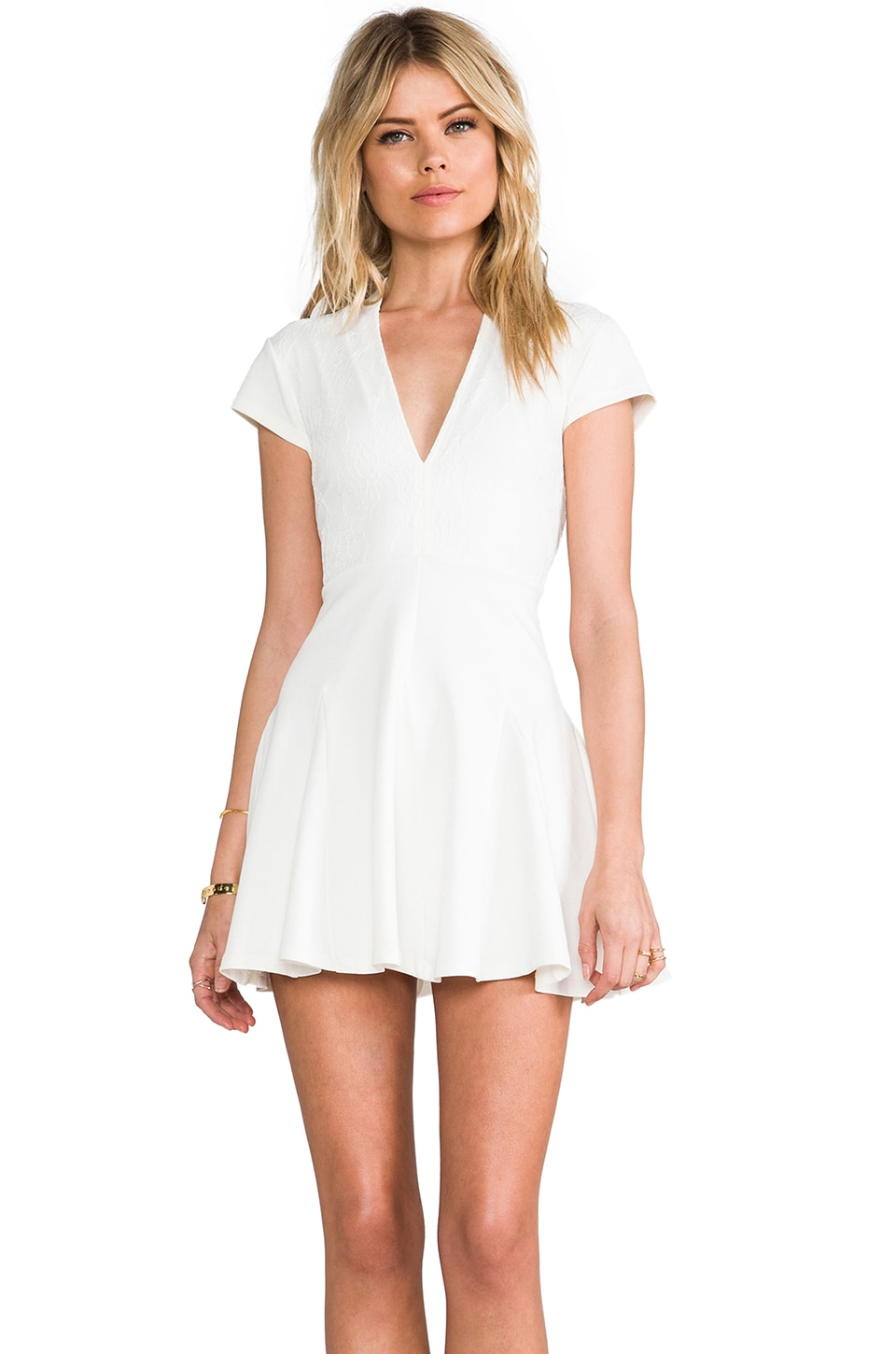 Pencey Lace Overlay Deep V Dress in White