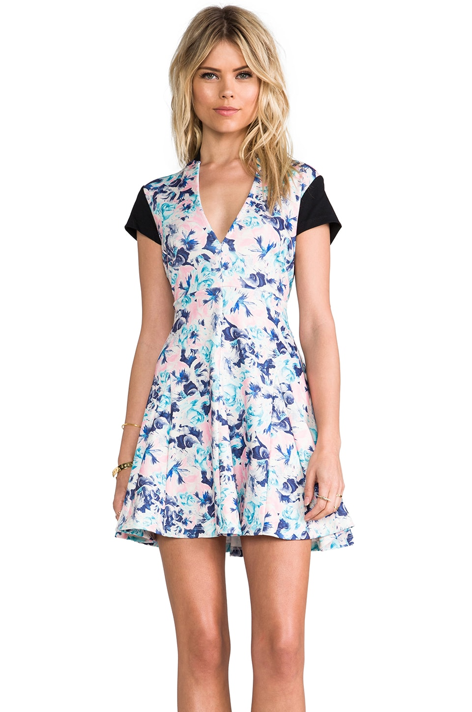Pencey Deep V Dress in Karolina Navy Print