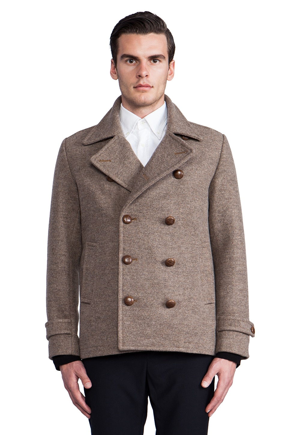 The Portland Collection by Pendleton Bandon Peacoat in Taupe Mix