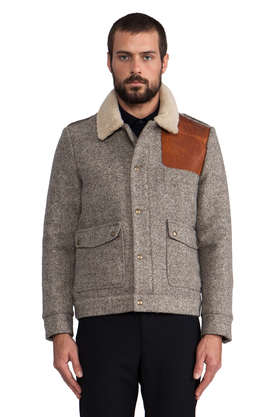 The Portland Collection by Pendleton Oakridge Jacket w/ Faux Shearling in Fog