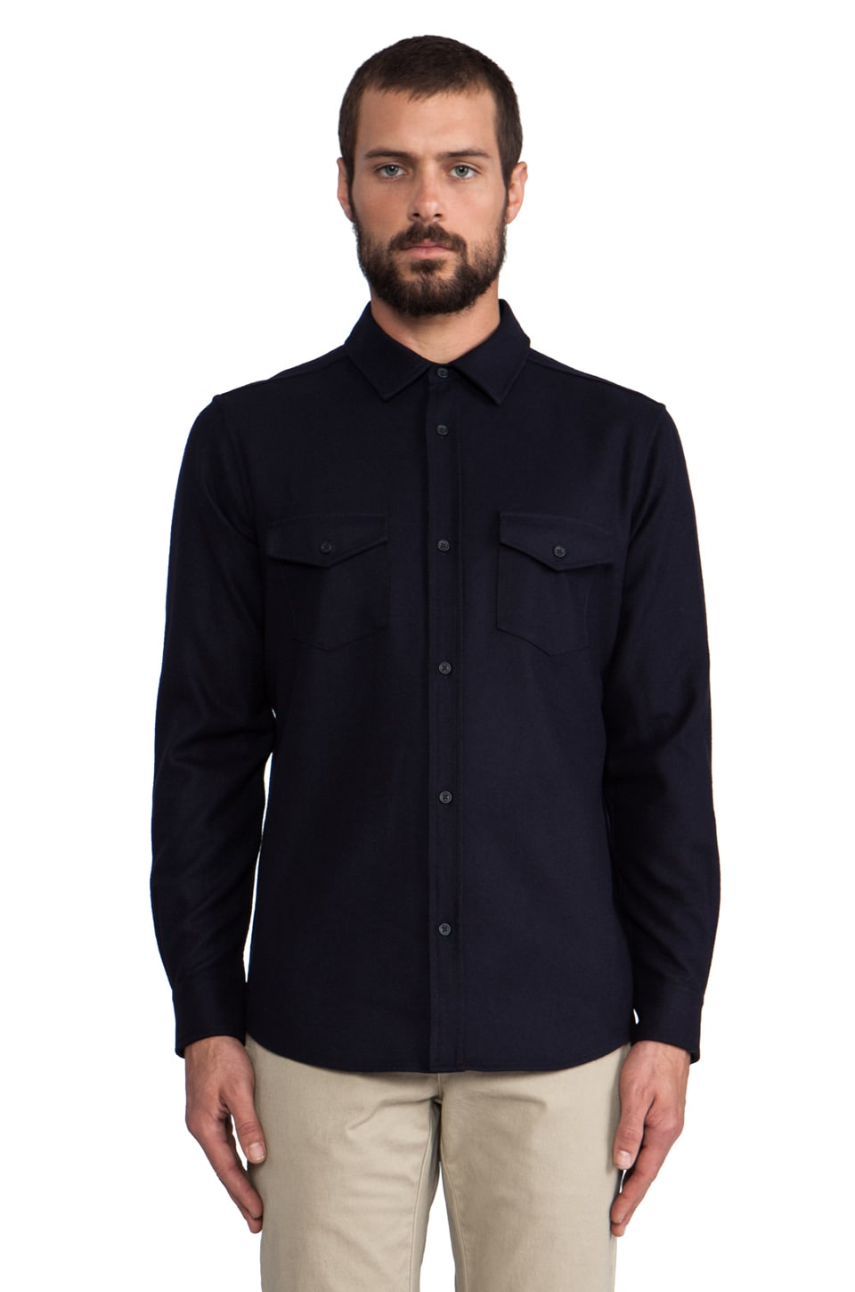 The Portland Collection by Pendleton Government Camp Shirt in Navy Umatilla