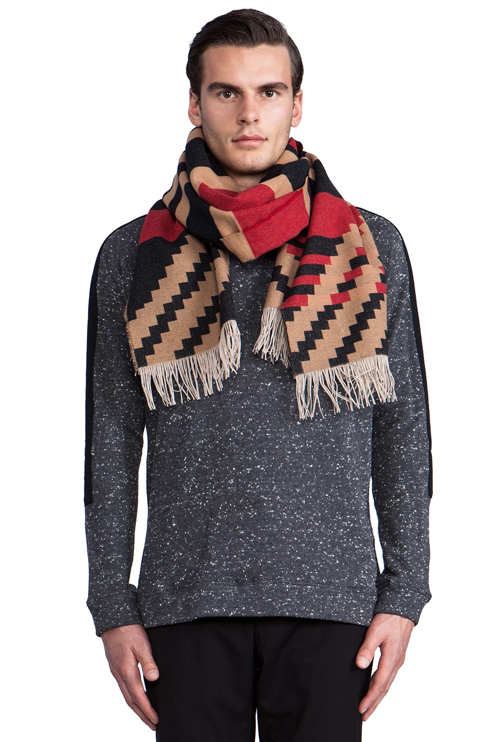 The Portland Collection by Pendleton Fringed Scarf en Pinyon Stripe Black