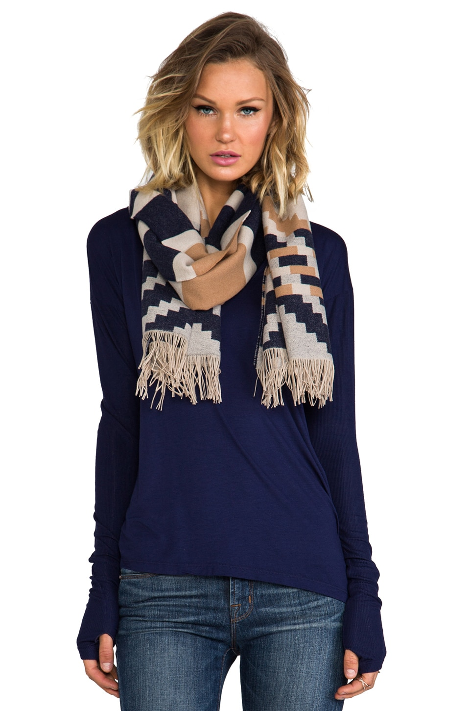 The Portland Collection by Pendleton Fringed Scarf in Pinyon Stripe Navy