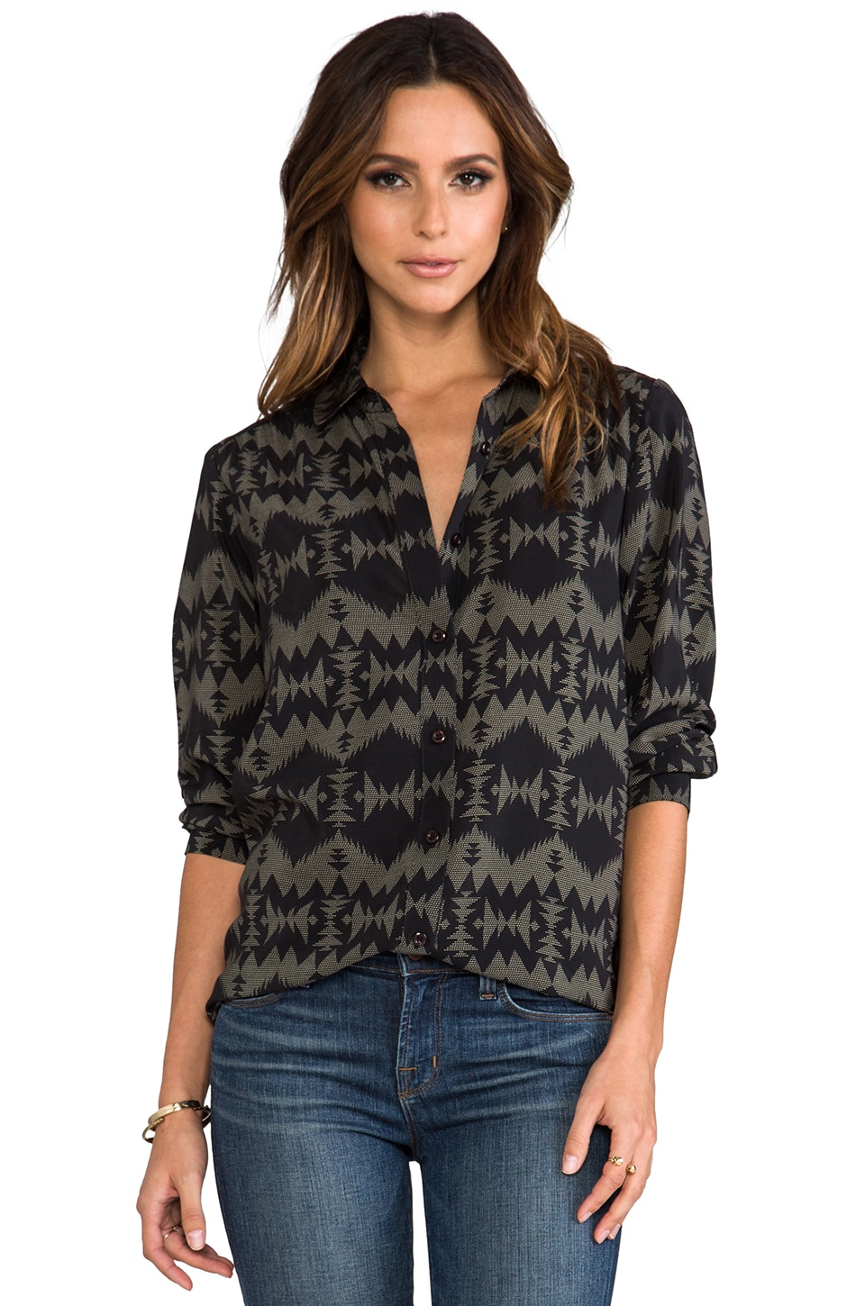 The Portland Collection by Pendleton North Plains Tunic in Black Sonora Silk