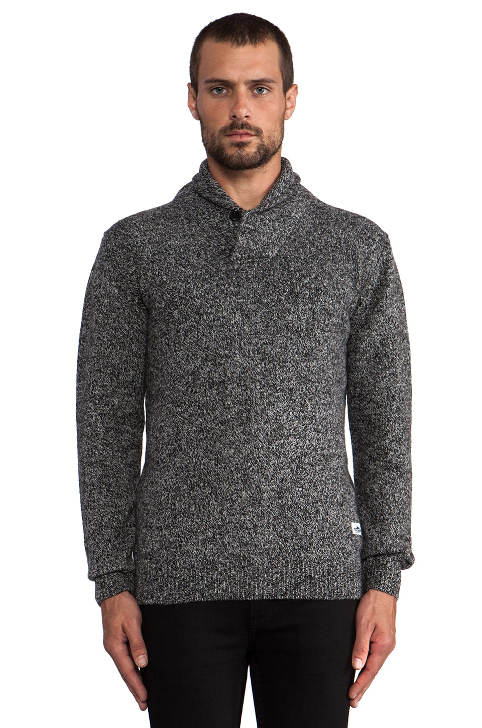 Penfield Bayfield Shawl Collar Melange Jumper in Black/ White