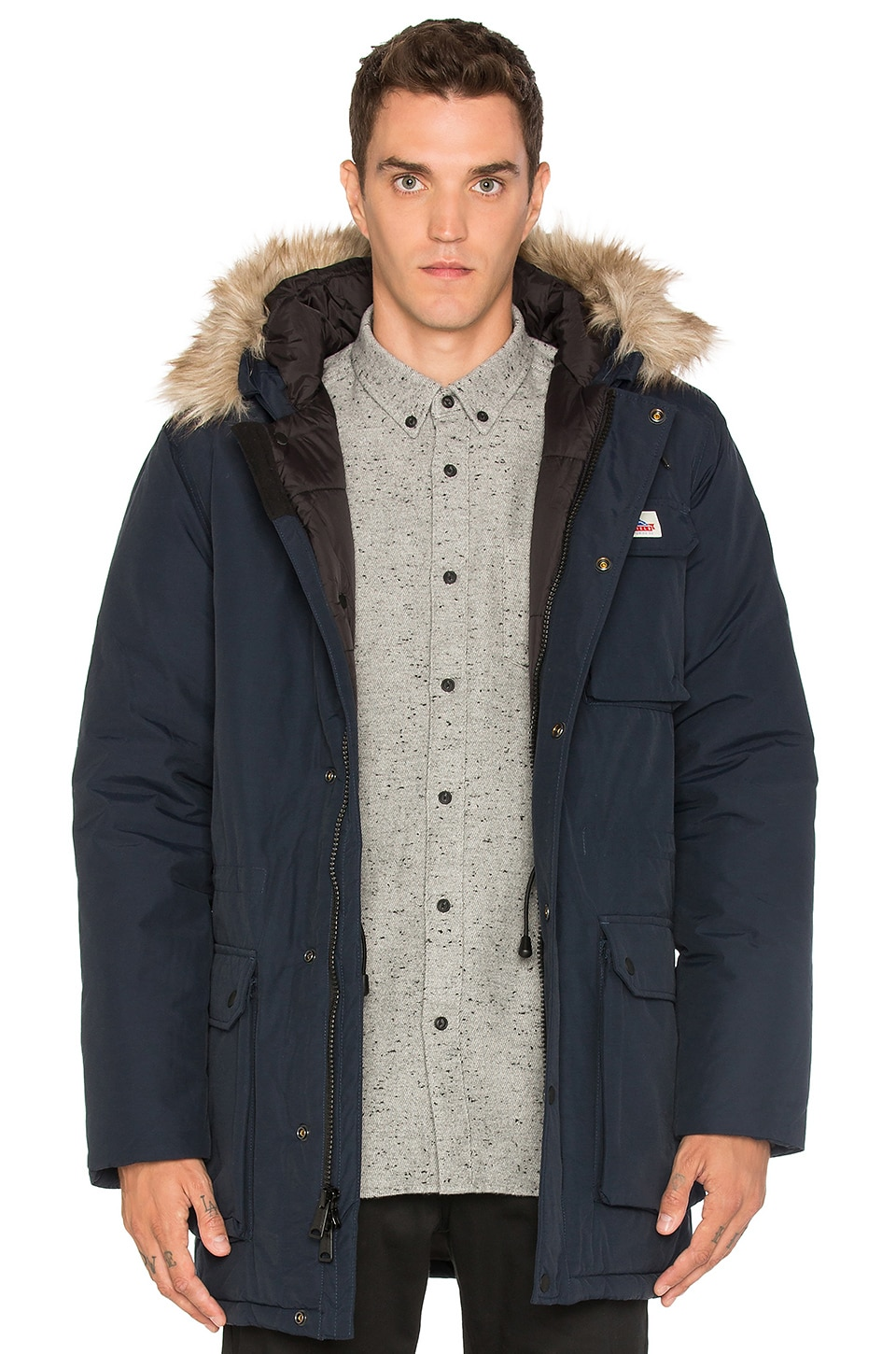 Penfield Lexington Faux Fur Trim Hooded Mountain Parka in Navy ...