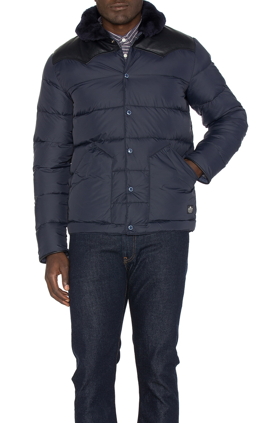 Rockwool Leather and Shearling Yoke Down Jacket by Penfield