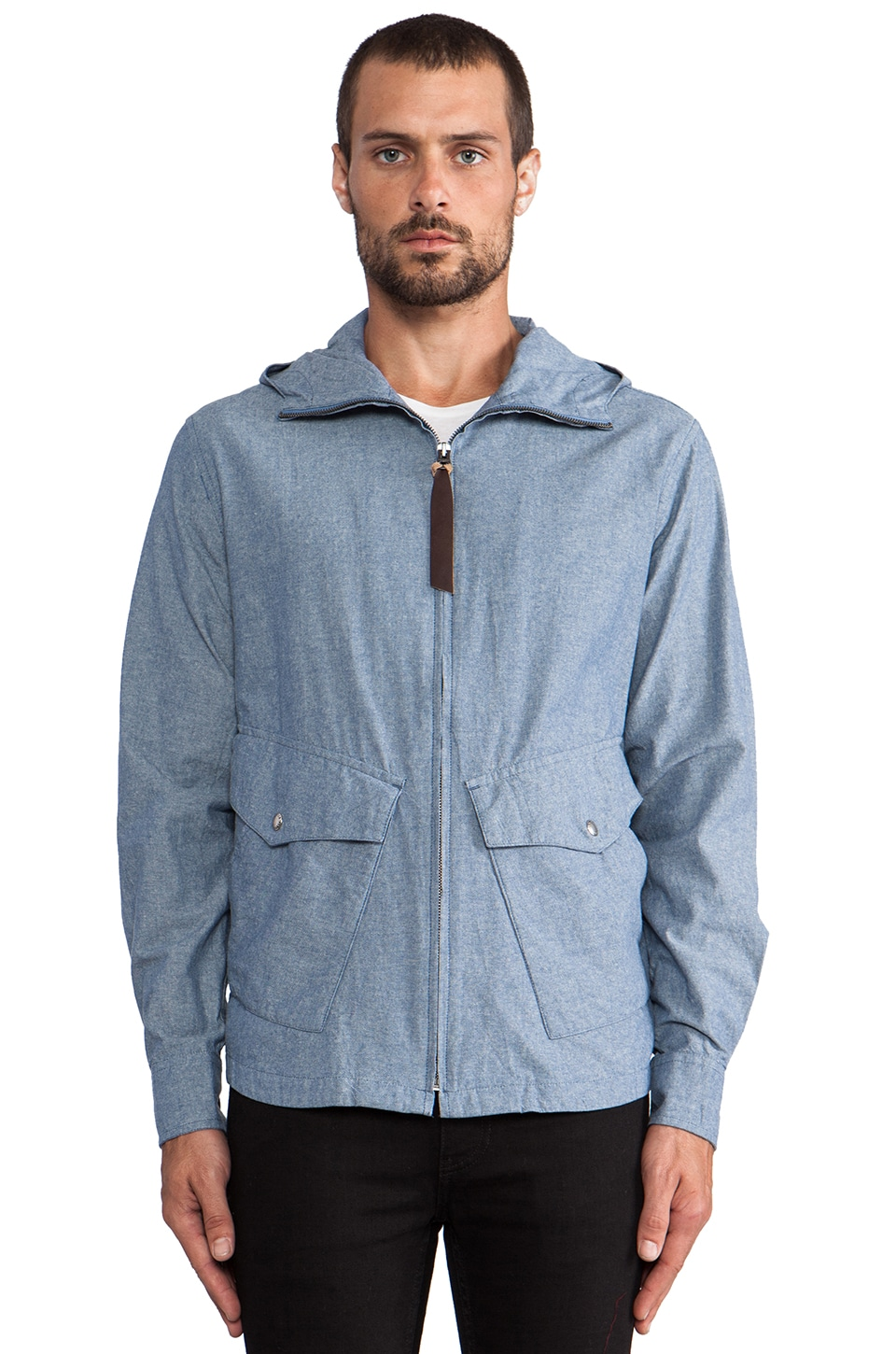 Penfield Braybrooke Zip Hooded Shirt in Blue