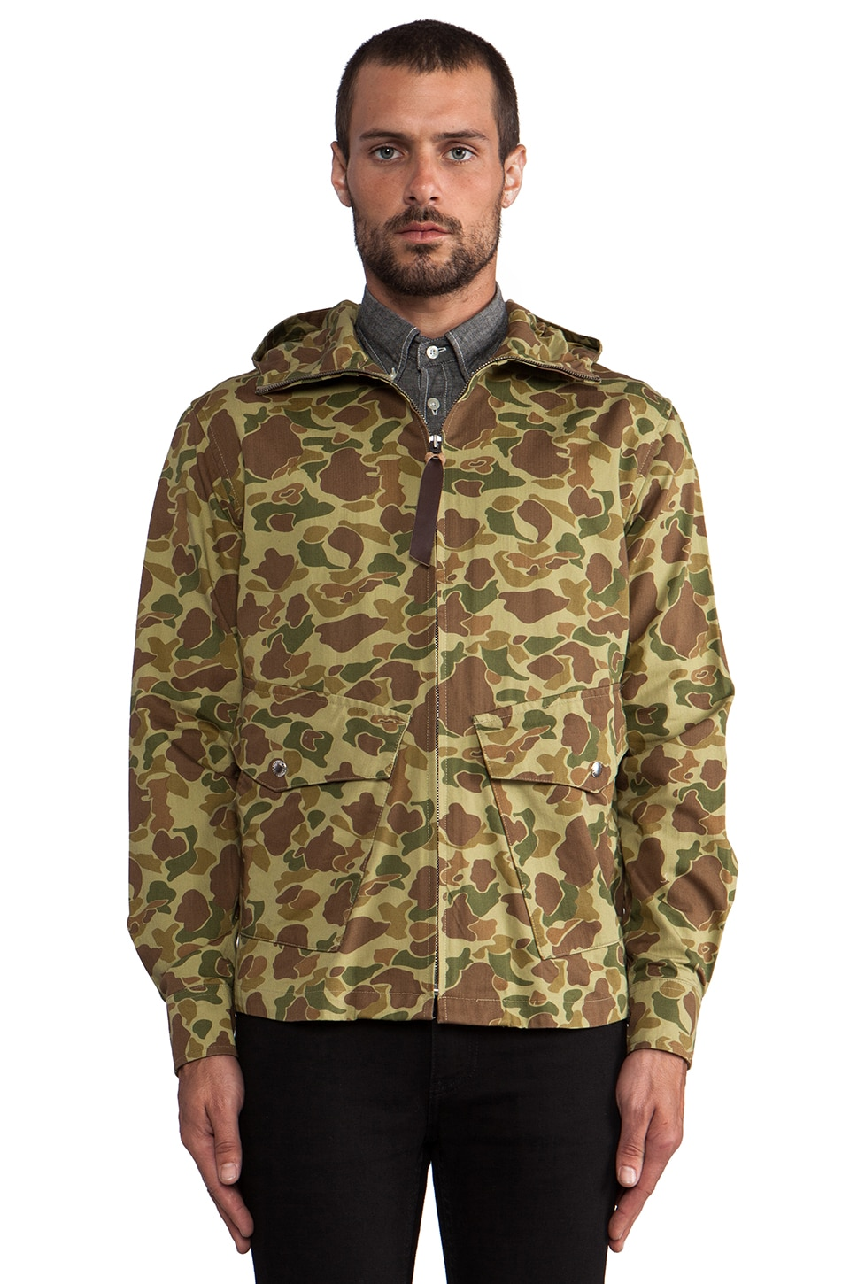 Penfield Braybrooke Zip Hooded Shirt in Duck Camo