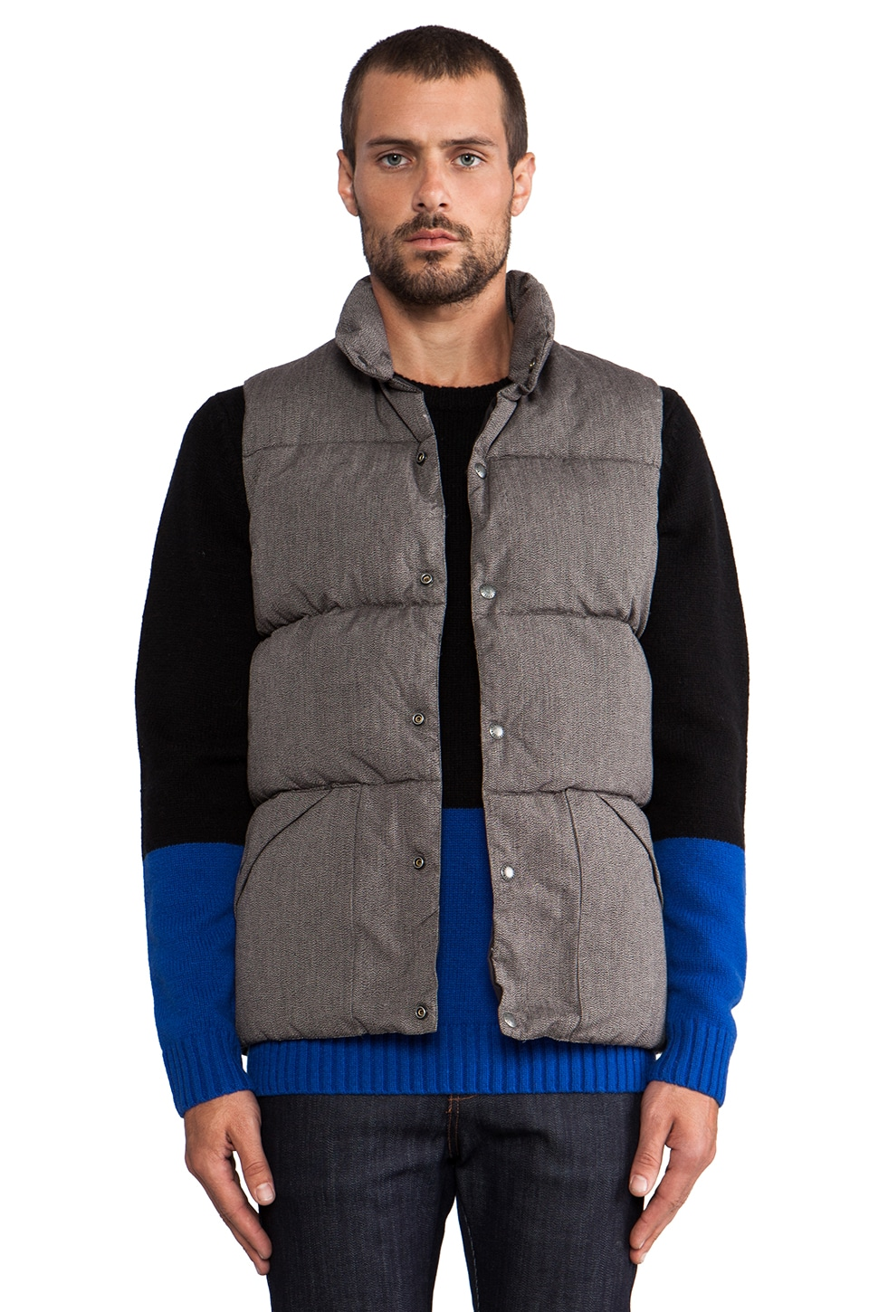 Penfield Blue Label Outback Insulated Vest in Salt/ Pepper