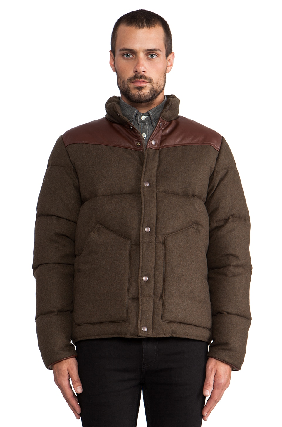 Penfield Blue Label Gillman Melton Insulated Jacket in Olive Drab