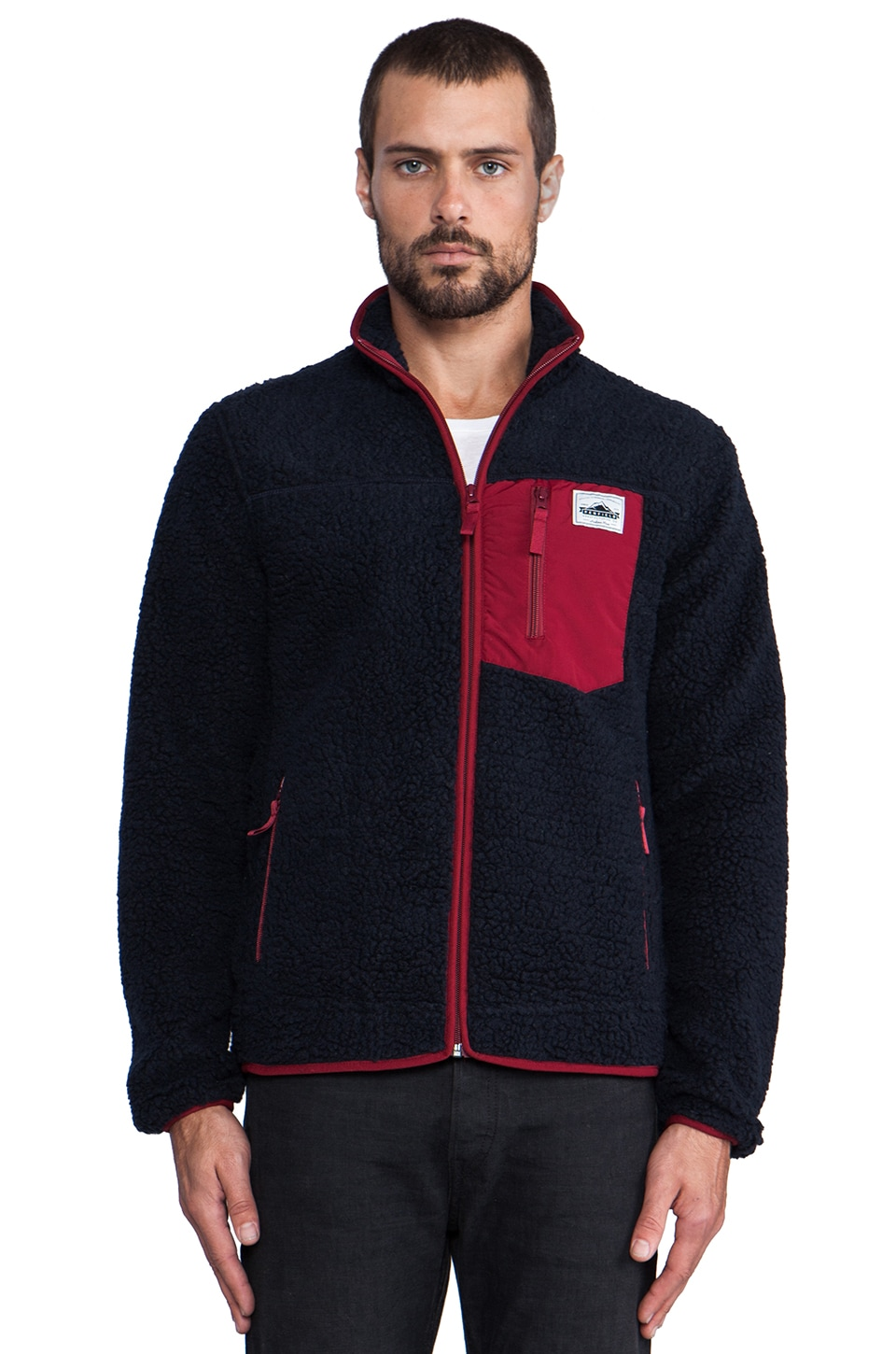 Penfield Lavic Pile Fleece Jacket in Navy