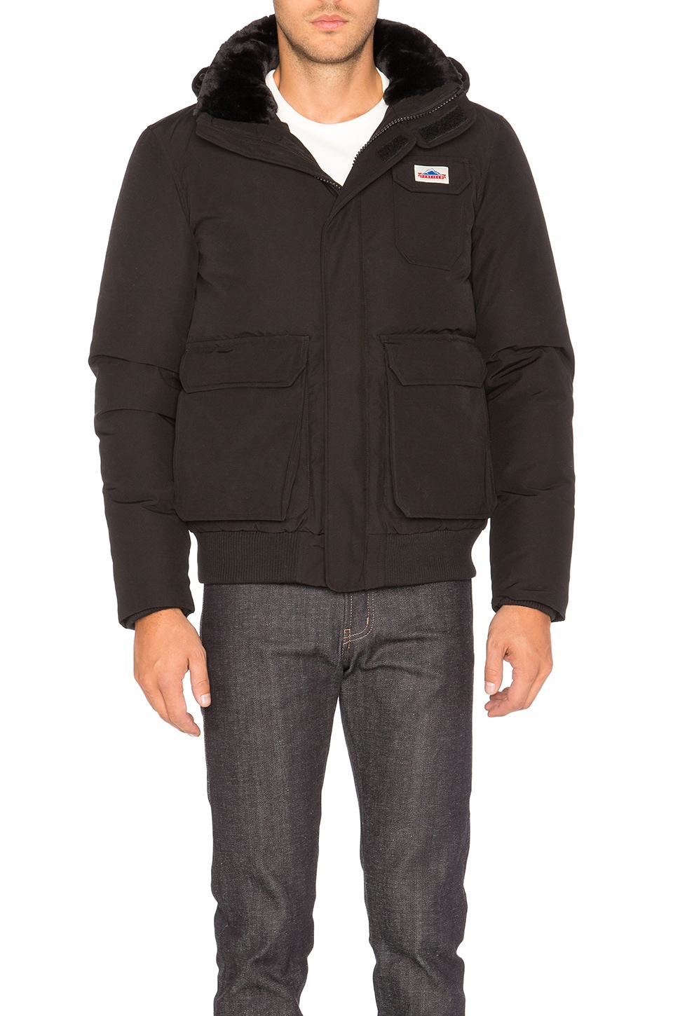 Penfield Hanford Faux Fur Collar Jacket in Black