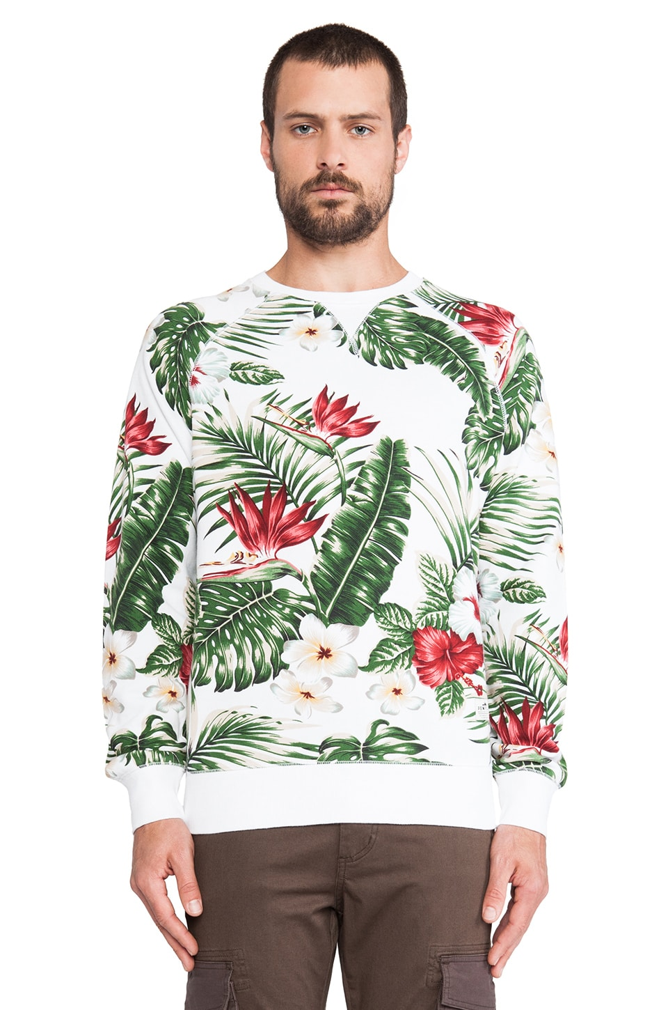 Penfield Koloa Palm Print Sweatshirt in White