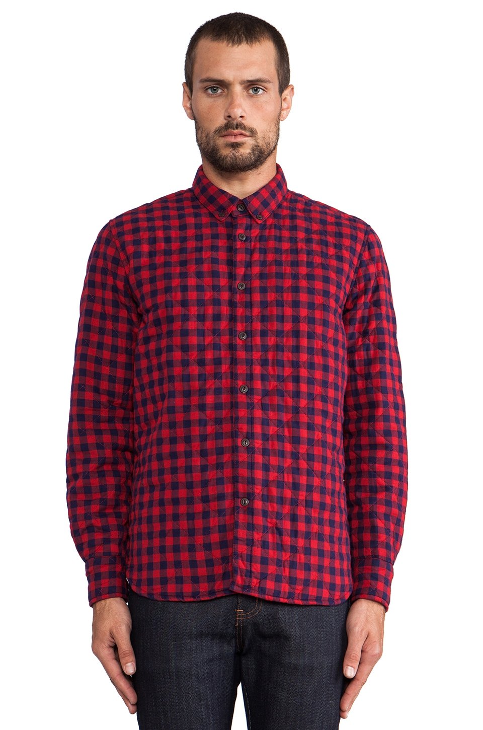 Penfield Kemsey Quilted Shirt in Red/ Navy