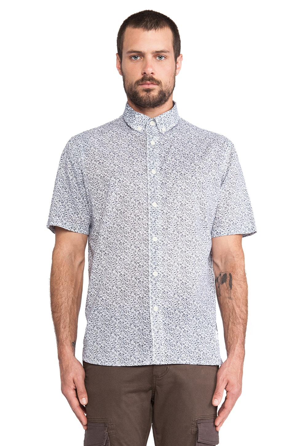 Penfield Radford Floral Print Shirt in Light Blue