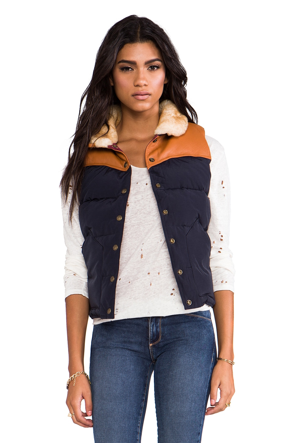 Penfield Rockwool Down Insulated Vest in Navy