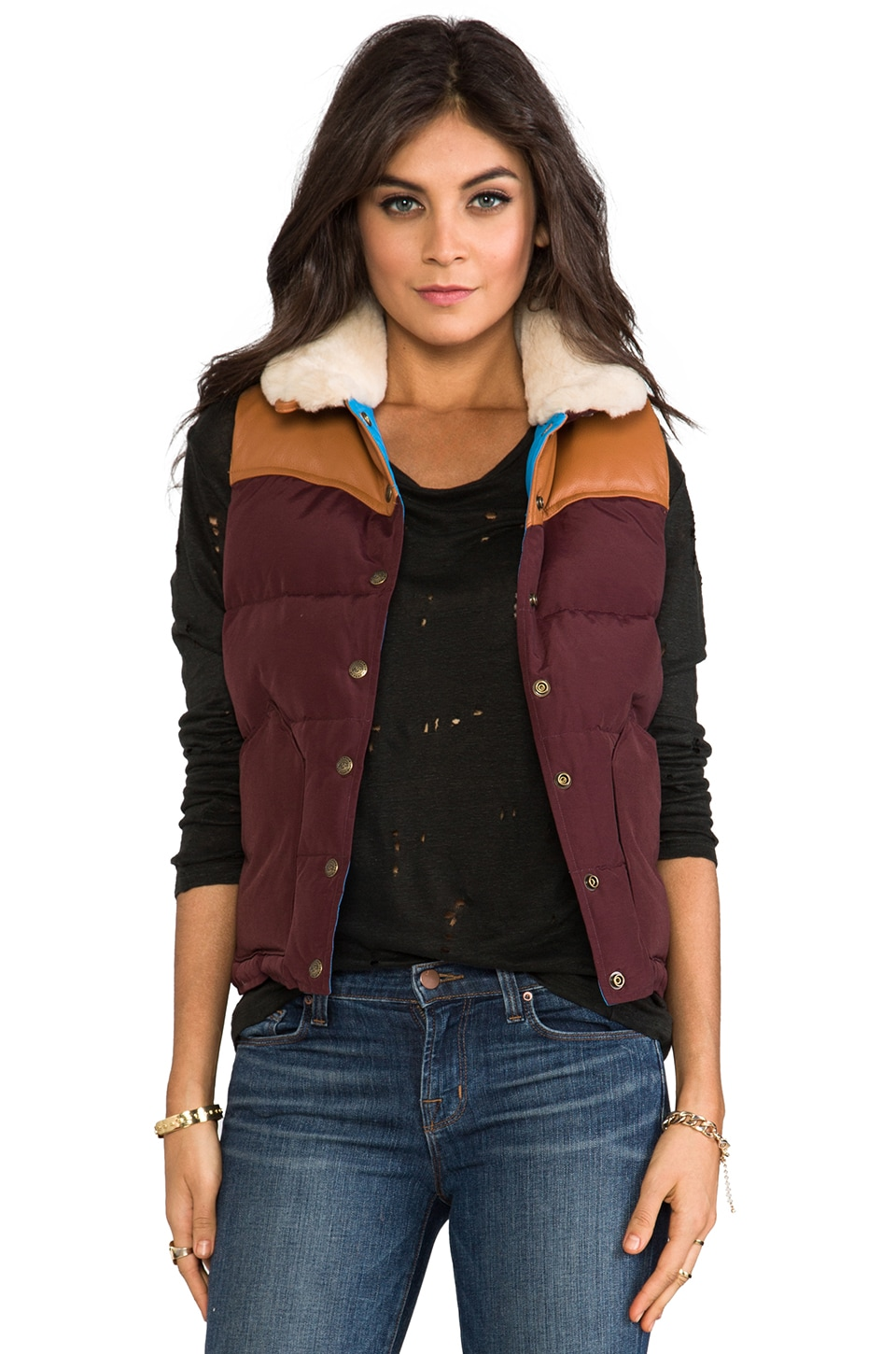 Penfield Rockwool Down Insulated Vest in Burgundy