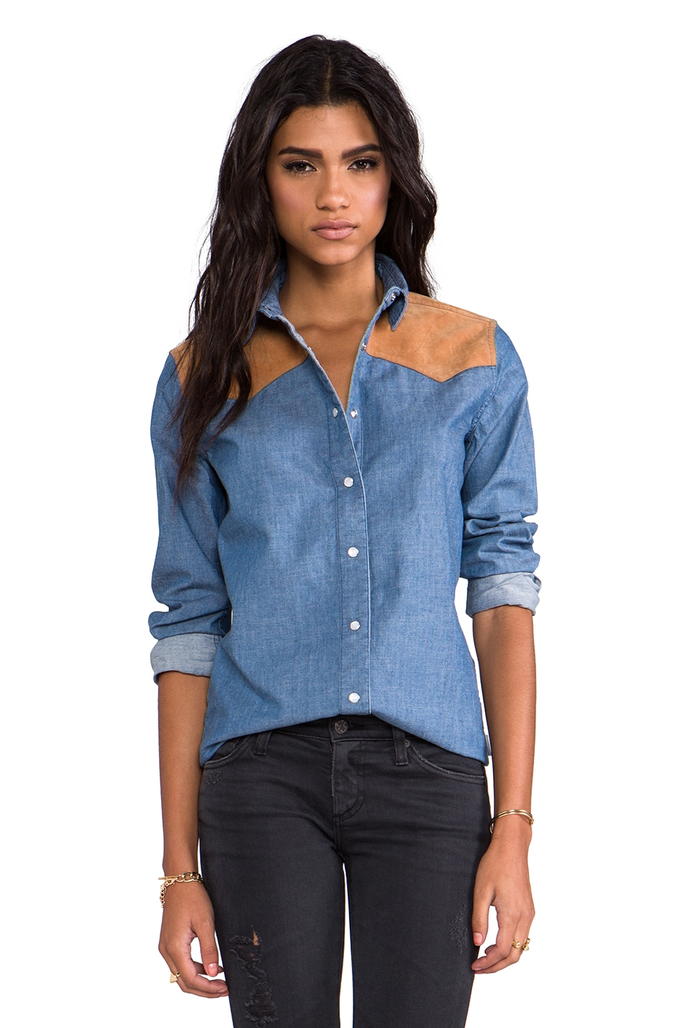 Penfield Drayton Denim Western Shirt in Blue