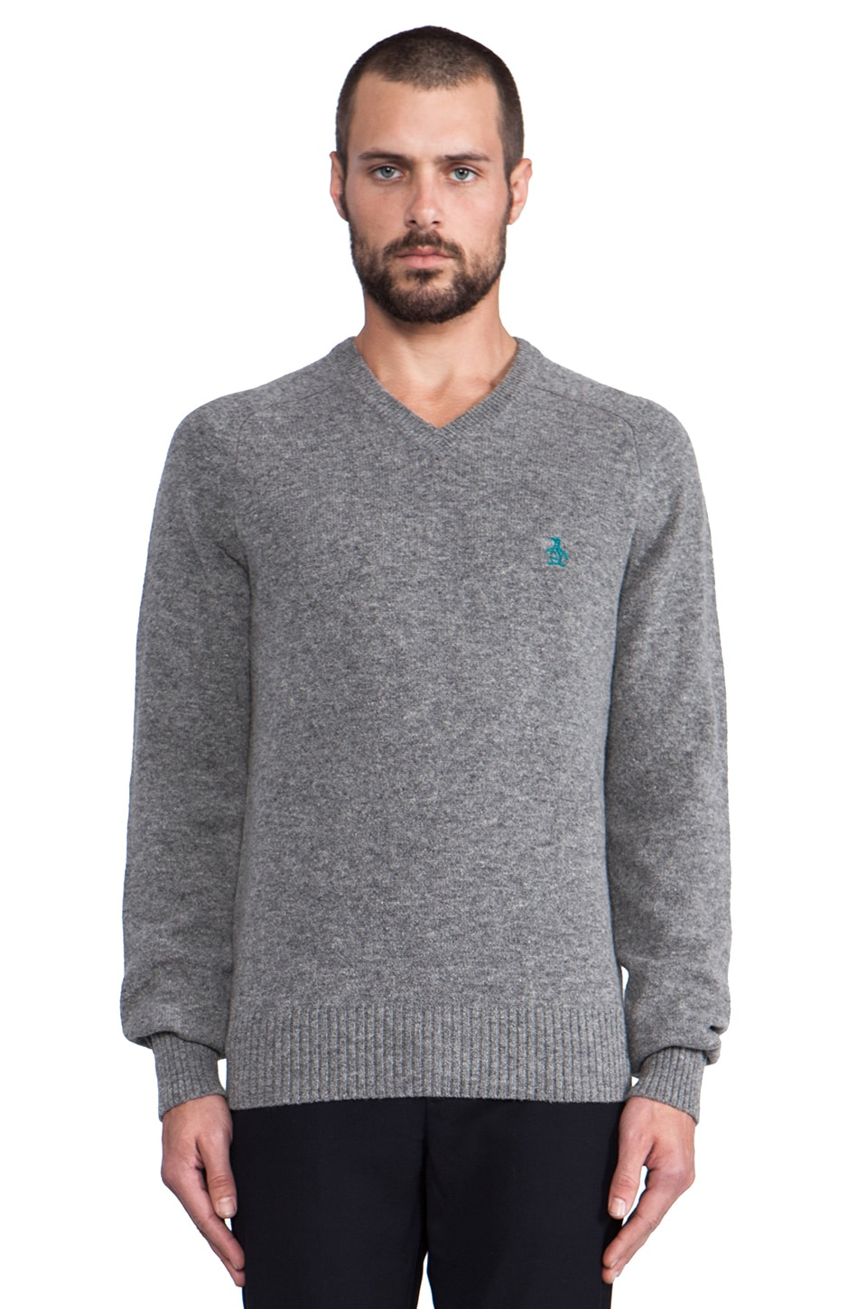 Penguin V Neck Sweater in Dark Steel Heather