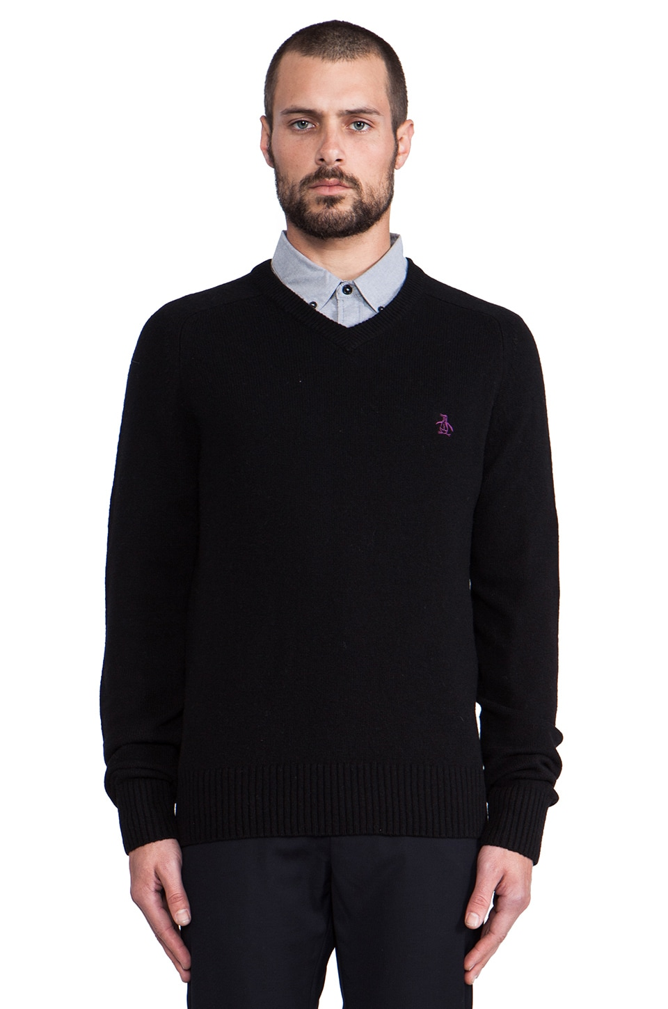 Penguin V Neck Sweater in True Black