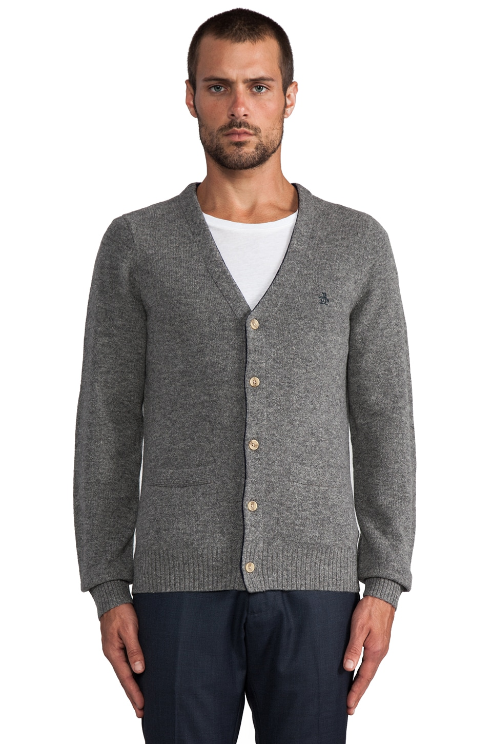 Penguin V Neck Cardigan in Dark Steel Heather