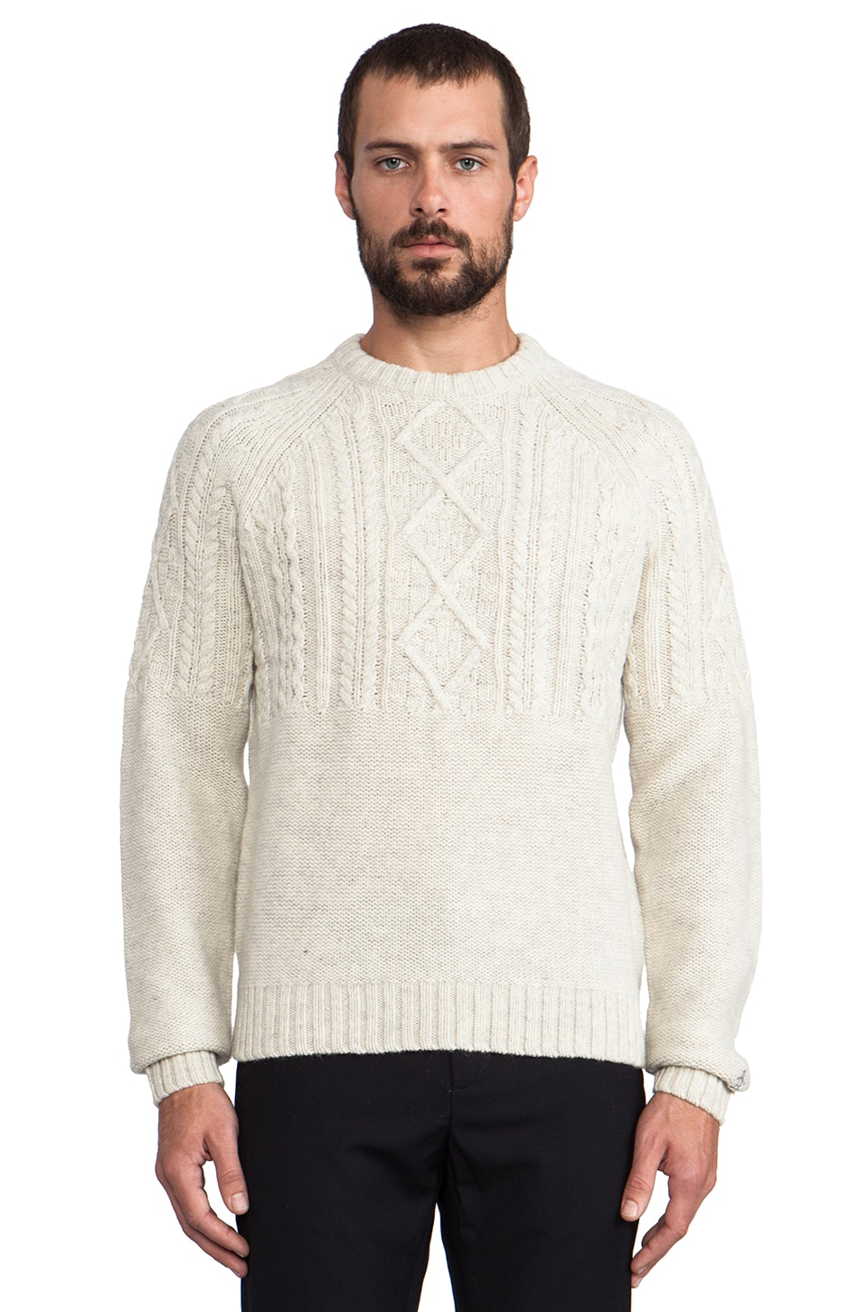 Penguin Cable Knit Pullover in Light Silver Marl