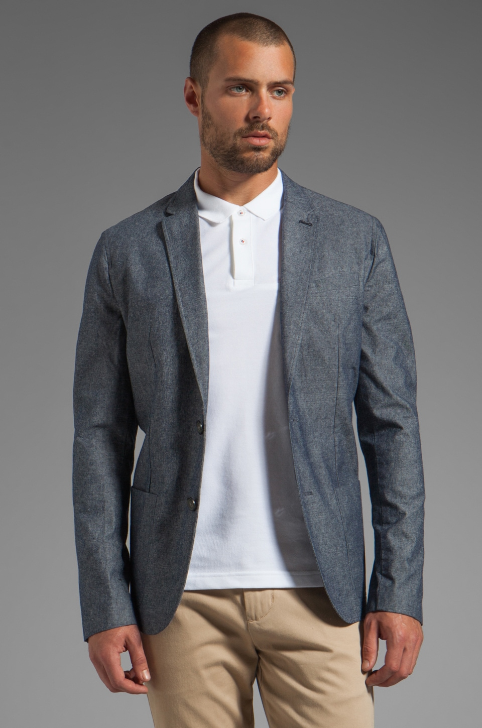 Penguin Chambray Blazer in Dark Denim