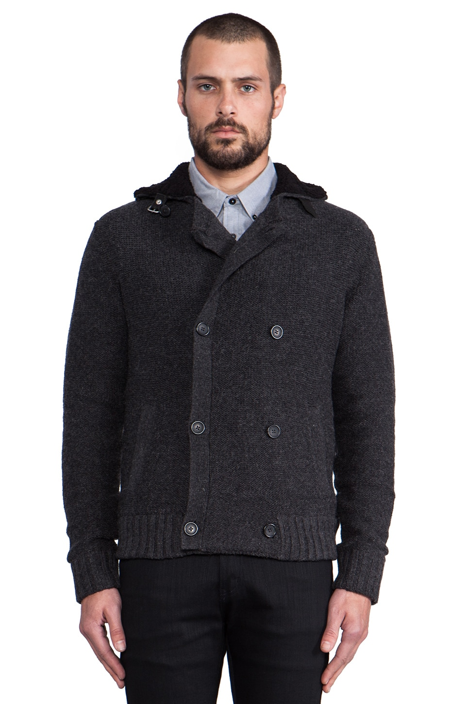 Penguin Faux Sherpa Lined Moto Jacket in Dark Charcoal Heather