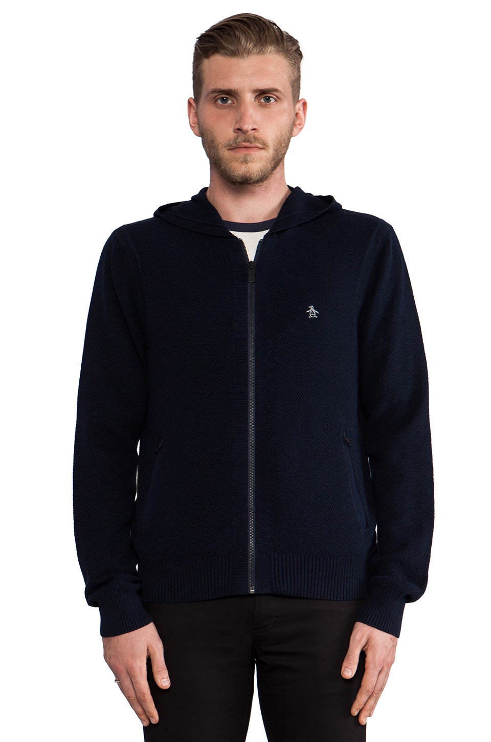 Penguin 2-Way Zip Hoodie in Dark Sapphire
