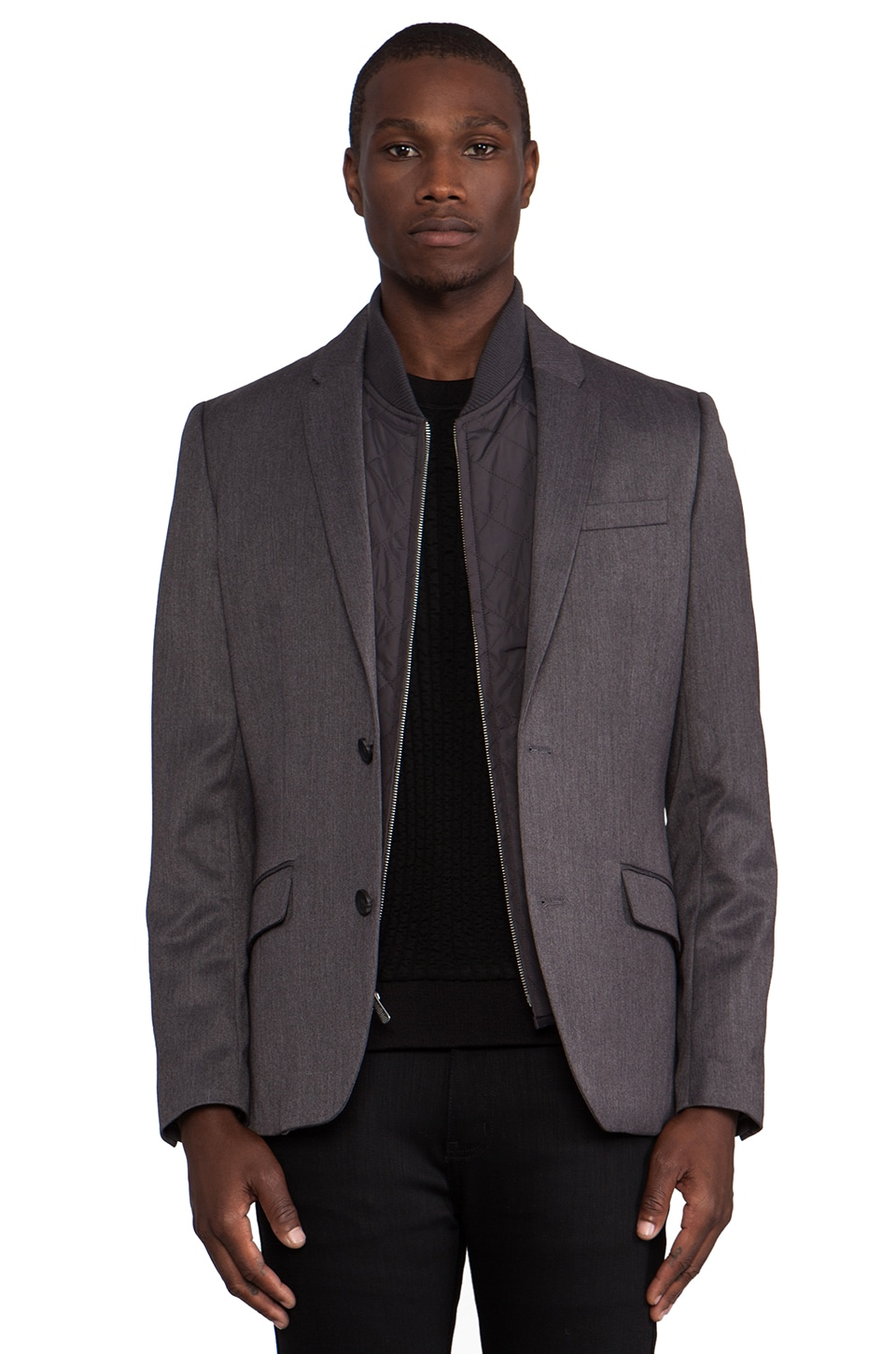 Penguin Blazer w/ Detachable Vest in Dark Steel Heather