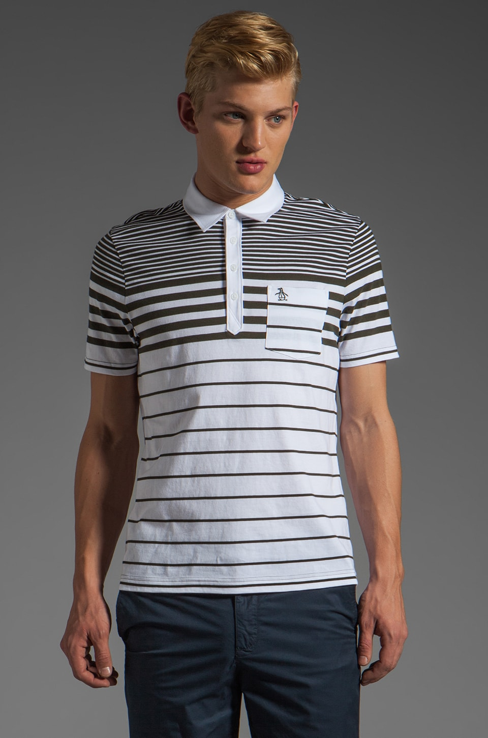Penguin Engineered Stripe Polo in Bright White