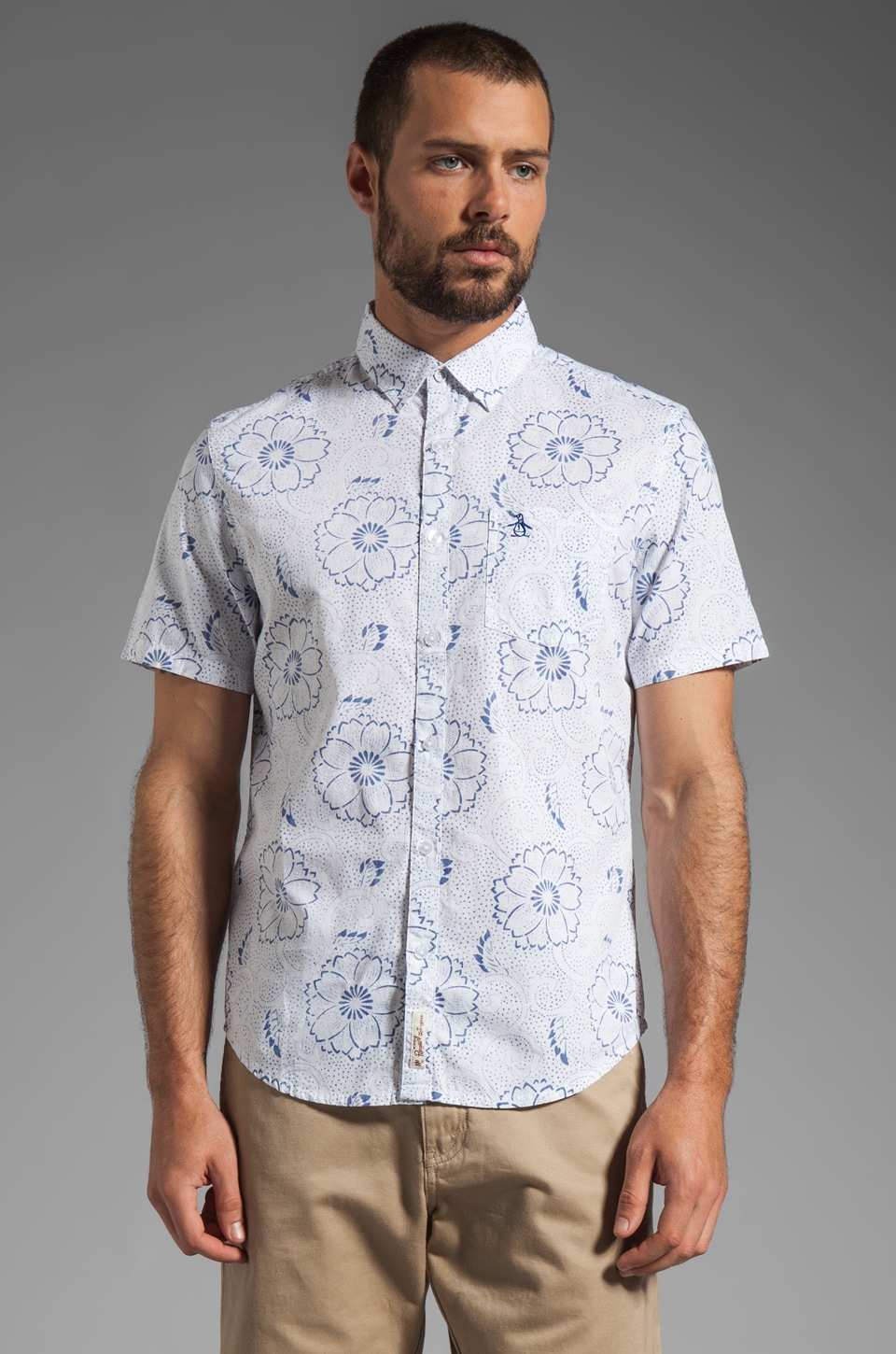Penguin S/S Floral Woven Heritage Fit in Bright White