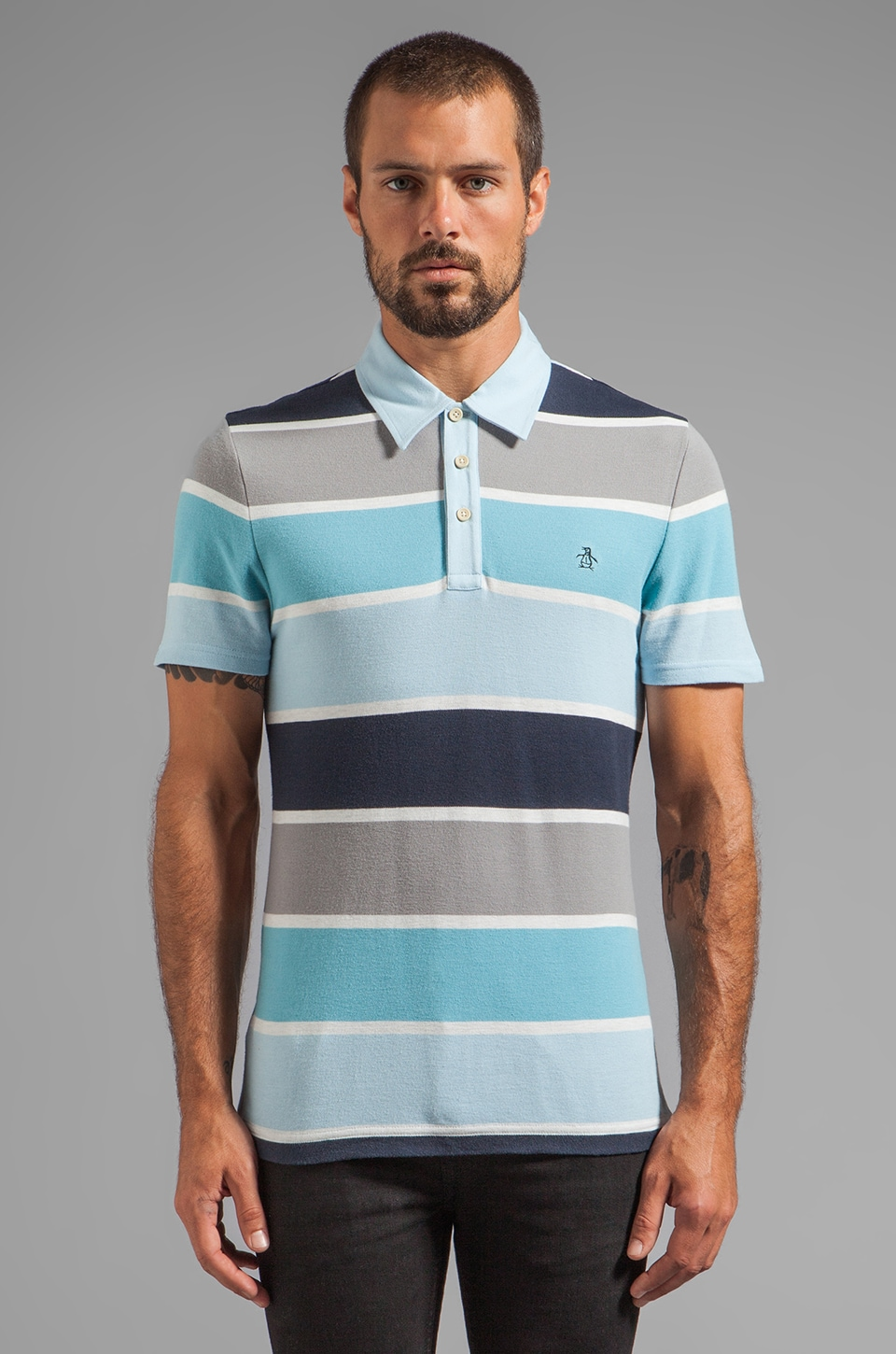 Penguin Heritage Fit Stripe Polo in Dream Blue