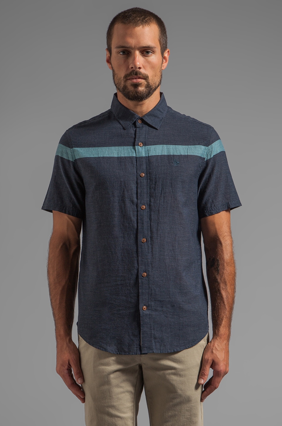 Penguin Engineered Stripe S/S Button Down in India Ink Heather