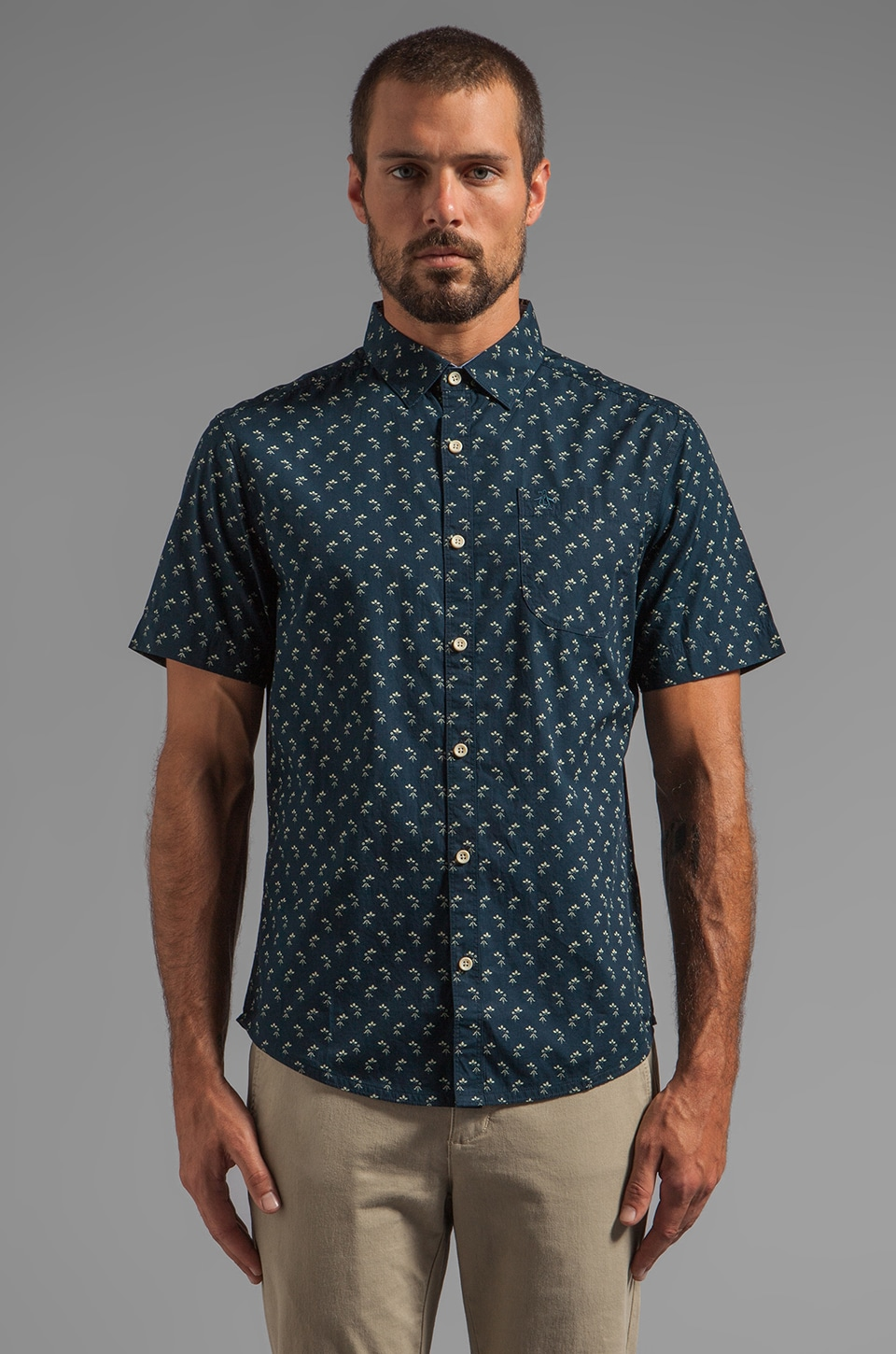 Penguin Industry Geo S/S Button Down in Dark Sapphire