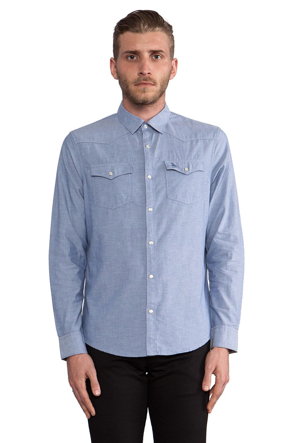 Penguin Chambray Button Down in Coastal