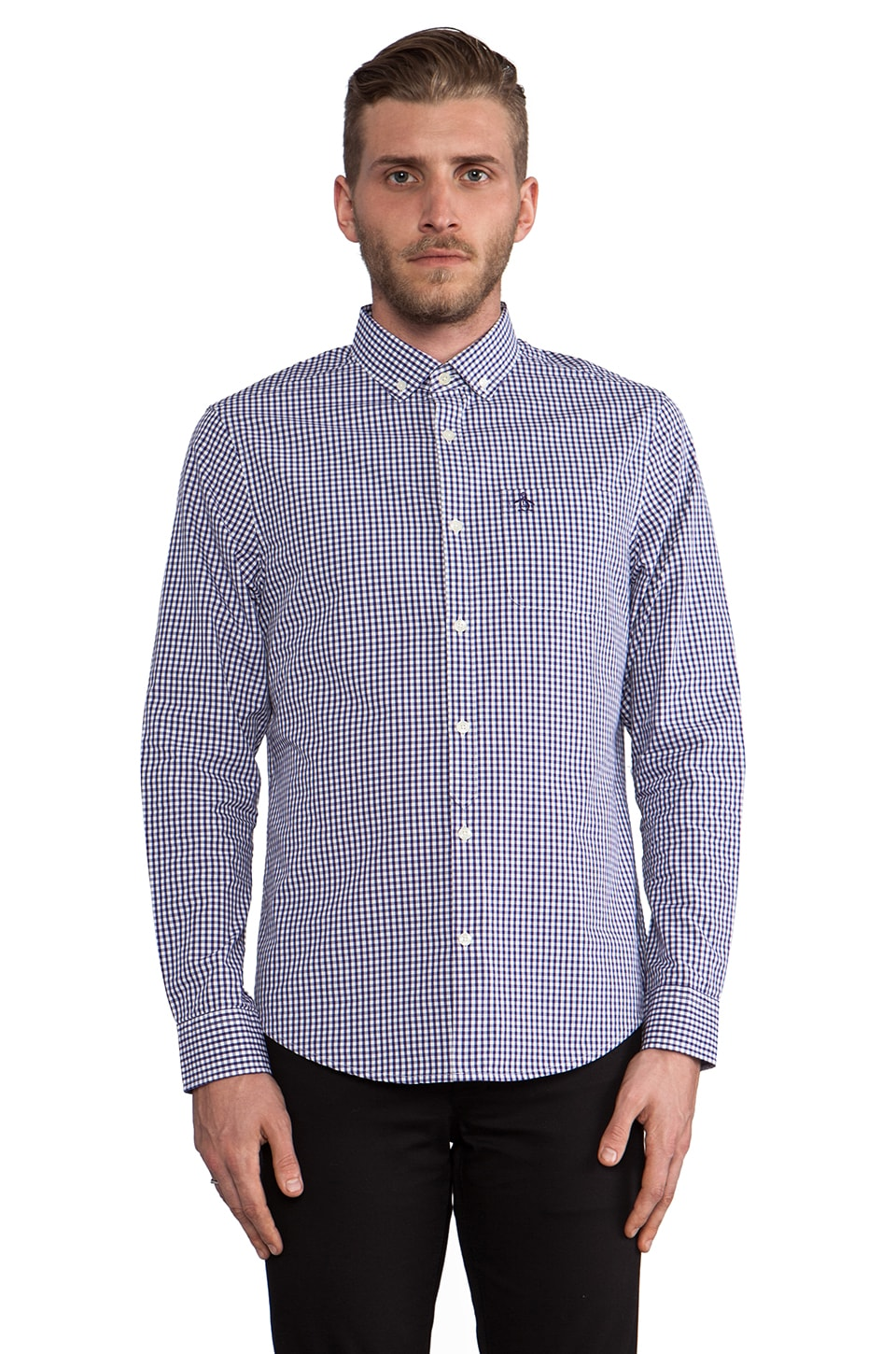 Penguin Gingham Button Down in Parachute Purple