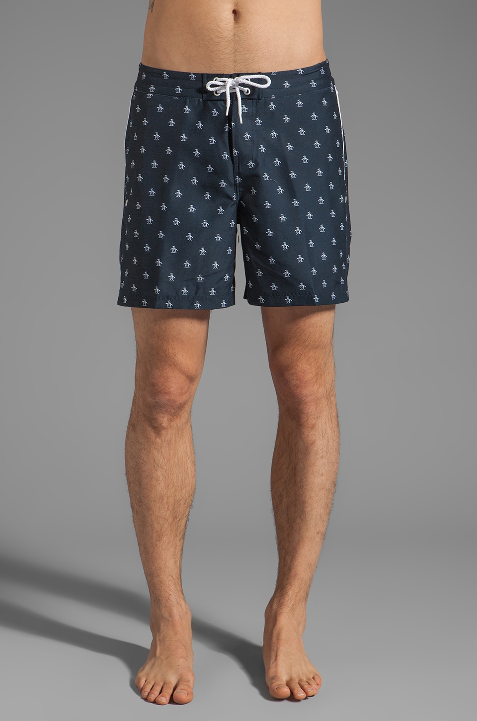 Penguin Printed Volley Swim Short in Total Eclipse